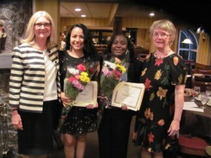 AAUW GWA President Dorothy Quinn (left) and Scholarship Chair Caroline Mossip (right) present the 2014 AAUW GWA scholarships to Mayra Cabrera and Omowunmi Adedeji.