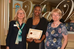 AAUW GWA President Dorothy Quinn (left) and Scholarship Chair Caroline Mossip (right) present the 2015 AAUW GWA Branch scholarship to Denise Deal.